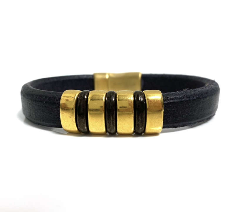 Lusso black & gold armband