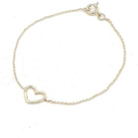 Geelgouden anker schakel armband met hart.