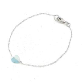 Zilveren anker schakel armband met amazoniet hartje.
