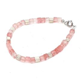 Zilveren geregen armband met watermeloenkwarts.