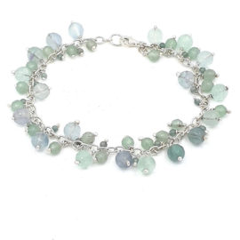 Zilveren armband met groene fluoriet.