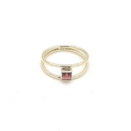 Geelgouden ring met rhodoliet.