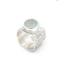 Zilveren ring calcedoon.