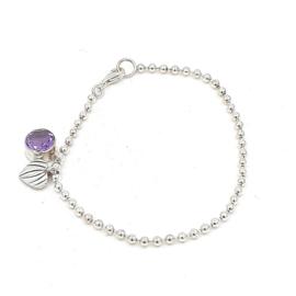 Zilveren ballen armband met amethist.