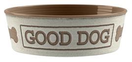 Tarhong voerbak good dog wit/taupe 17cm