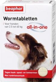 Beaphar ontwormingstabletten 2,5-40 kg 4 stuks