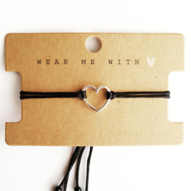 Macramé-bandje met hart, ring of klavertje