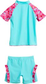UV-beschermende zwemset Flamingo - aquablauw