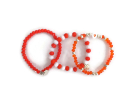 set van 3 armbandjes rood/wit