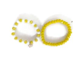 set van 2 armbandjes geel/wit