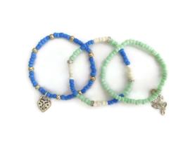 set van 3 armbandjes blauw/mintgroen
