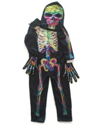 104-116 (4-6 jr) - verkleedpak skelet 3-delig
