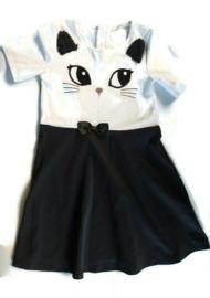 134/140 - H&M jurk met poes