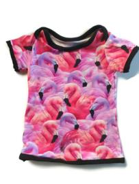 86 - t-shirt flamingo's (handmade)