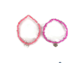 set van 2 kinderarmbandjes (koraal-)roze