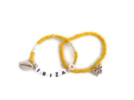set van 2 armbandjes geel Ibiza