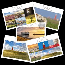 Set van 5 Texel ansichtkaarten.