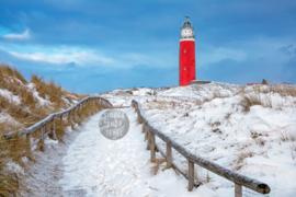 Vuurtoren in de Sneeuw, Fleece Deken.