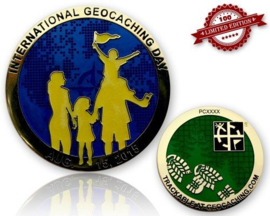 CacheQuarter Int Geocaching Day 2015 - goud blauw