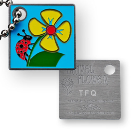 Coins and Pins Travel Flower tag