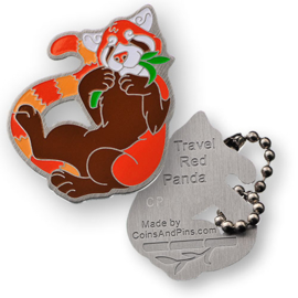 Coins and Pins travel tag - Red Panda