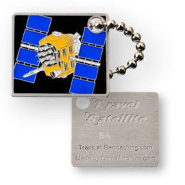 Coins and Pins Travel Satelliet tag