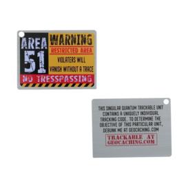 Oakcoins Travel Tag - Area 51 - warning