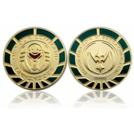 CacheQuarter By Your Command Geocoin - Goud Groen LE