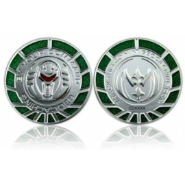 CacheQuarter By Your Command Geocoin - Zilver Groen LE