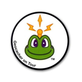CacheQuarter Sticker Signal the Frog: Geocacher on tour