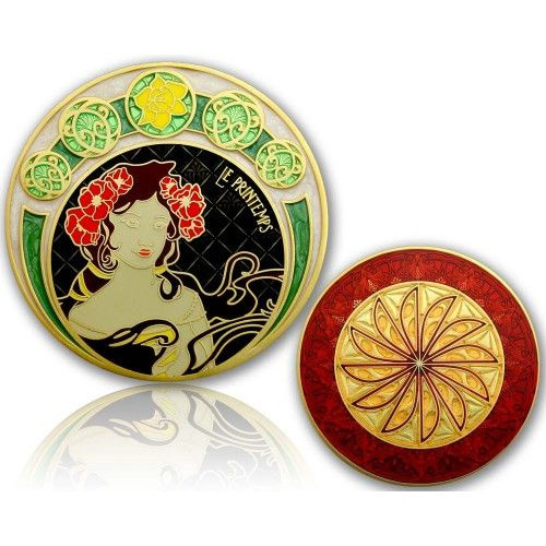 CacheQuarter 4 Seizoenen coin Lente - satijn goud XLE