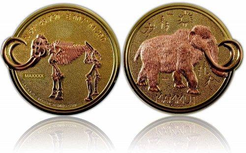 CacheQuarter Mammoet Geocoin XLE - Gepolijst goud met koper