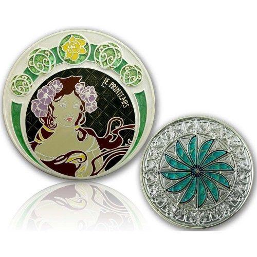 CacheQuarter 4 Seizoenen coin Lente - satijn zilver XLE
