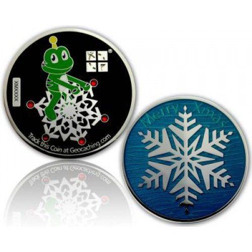 CacheQuarter Kerstmis geocoin Signal sneeuwvlok - gepolijst zilver