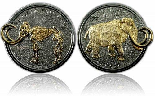 CacheQuarter Mammoet Geocoin LE - Gepolijst zilver met goud
