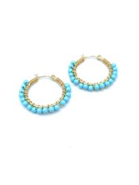 Oorbel Hoop Turquoise Beads