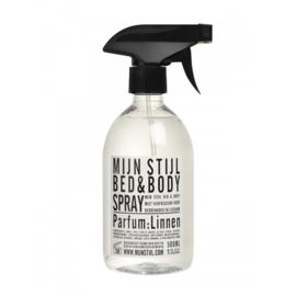 Bed en Bodyspray parfum Linnen wit/zwart etiket