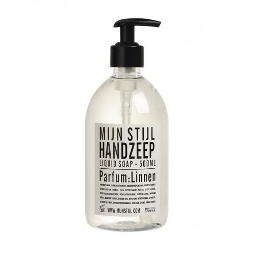 Handzeep parfum linnen 500 ml wit zwart etiket