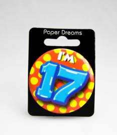 Button ''17 jaar'' (Klein)