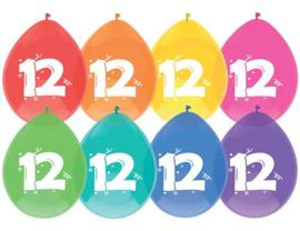 """Ballonnen """"12 jaar""""(8 stuks)"""