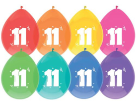 """Ballonnen """"11 jaar""""(8 stuks)"""