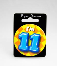 Button ''11 jaar'' (Klein)