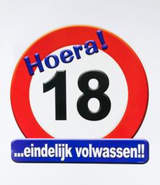 Verkeersbord ''18jaar''