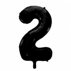 Folieballon ''Cijfer 2 zwart'' (100cm)