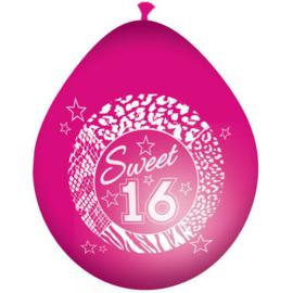 Ballonnen ''Sweet 16 roze'' (8 stuks)
