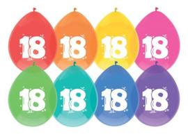 """Ballonnen """"18 jaar""""(8 stuks)"""