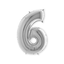Folieballon ''Cijfer 6 zilver'' (100cm)