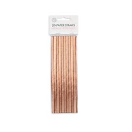 Papieren Rietjes (Rosé Goud Metallic, 20 stuks)