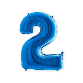 Folieballon ''Cijfer 2 Blauw'' (100cm)