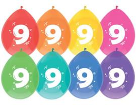 """Ballonnen """"9 jaar""""(8 stuks)"""
